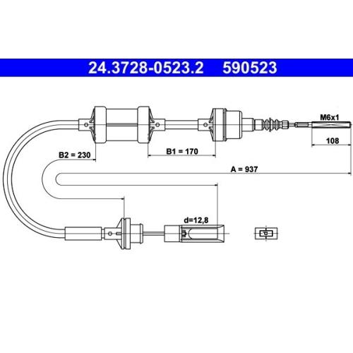 Seilzug, Kupplungsbetätigung ATE 24.3728-0523.2 FIAT