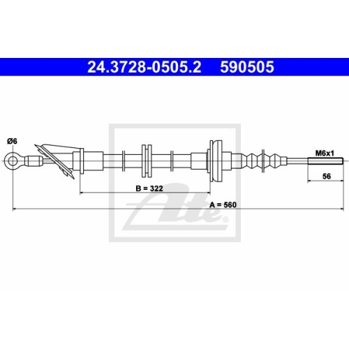 Clutch Cable ATE 24.3728-0505.2 FIAT