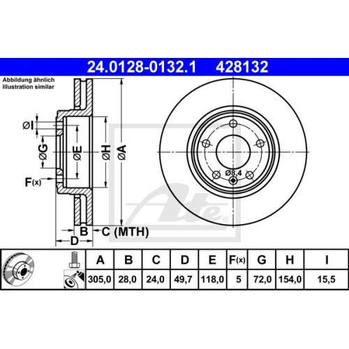 Brake Disc ATE 24.0128-0132.1 NISSAN OPEL RENAULT VAUXHALL