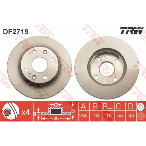 TRW Brake Disc DF2719