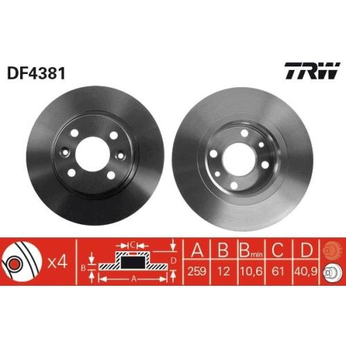 TRW Brake Disc DF4381