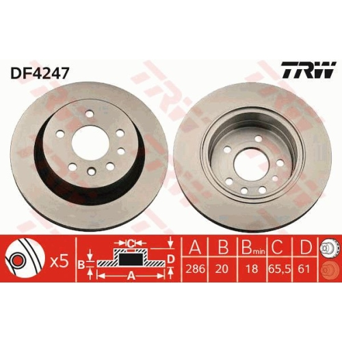 Brake Disc TRW DF4247 OPEL VAUXHALL