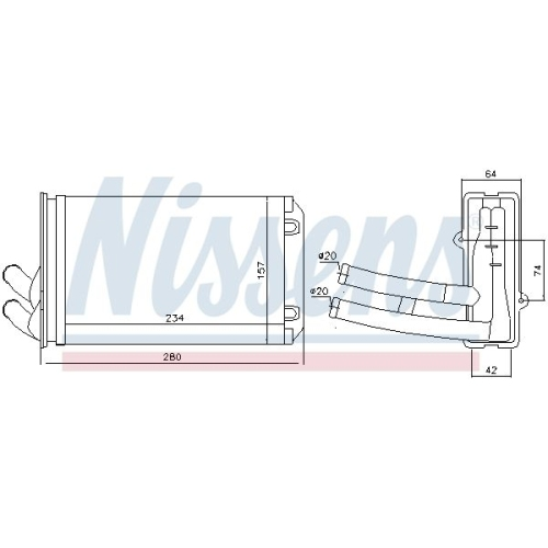 Heat Exchanger, interior heating NISSENS 70222 AUDI