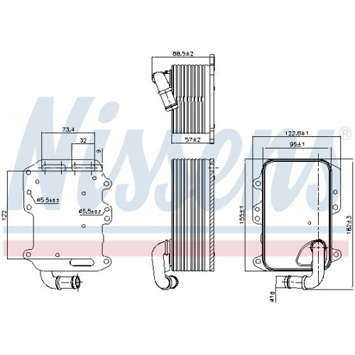 Ölkühler, Motoröl NISSENS 90807 AUDI VW