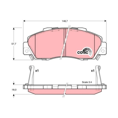 Brake Pad Set, disc brake TRW GDB3177 COTEC HONDA ACURA