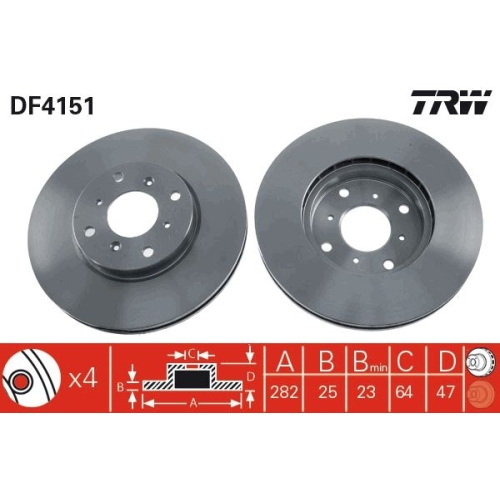 Brake Disc TRW DF4151 HONDA