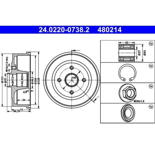 ATE Bremstrommel 24.0220-0738.2