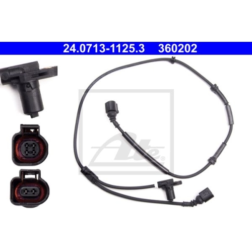 Sensor, Raddrehzahl ATE 24.0713-1125.3 FORD SEAT VAG