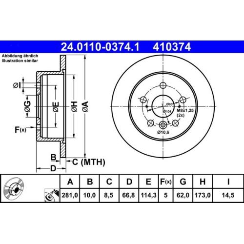 Bremsscheibe ATE 24.0110-0374.1 TOYOTA