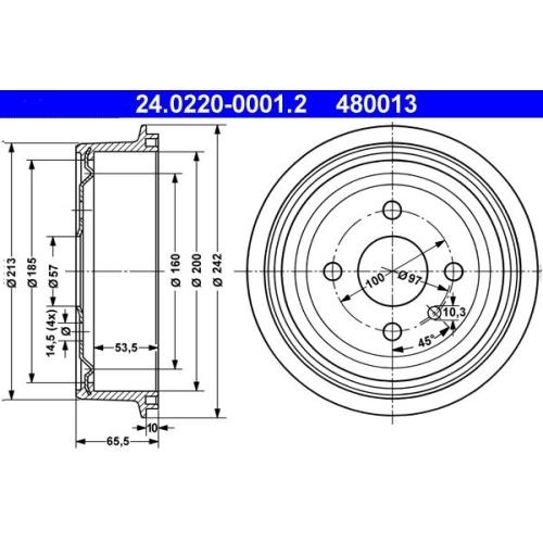 Bremstrommel ATE 24.0220-0001.2 OPEL VAUXHALL CHEVROLET DAEWOO