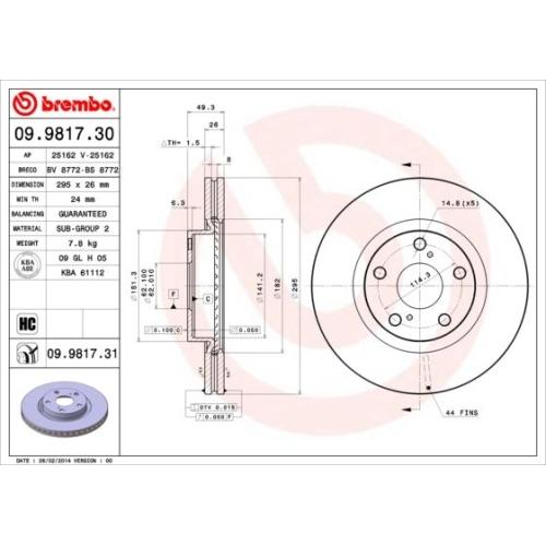Brake Disc BREMBO 09.9817.31 COATED DISC LINE TOYOTA