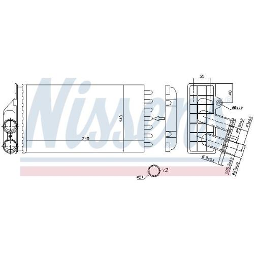 Heat Exchanger, interior heating NISSENS 71157 CITROËN PEUGEOT