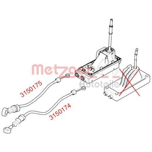 Seilzug, Schaltgetriebe METZGER 3150174 MINI