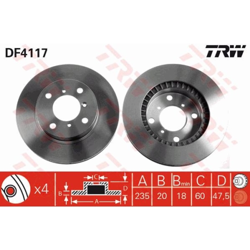 Brake Disc TRW DF4117 SUZUKI