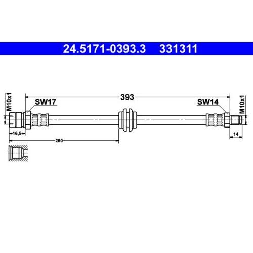 Bremsschlauch ATE 24.5171-0393.3 PORSCHE VAG