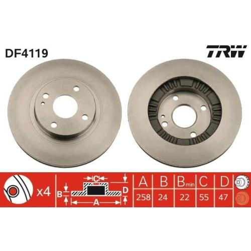 Brake Disc TRW DF4119 MAZDA MAZDA (HAINAN) HAIMA (FAW)