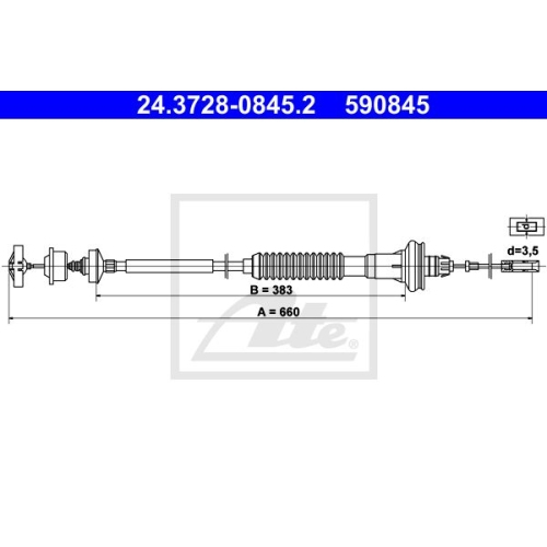 ATE Clutch Cable 24.3728-0845.2