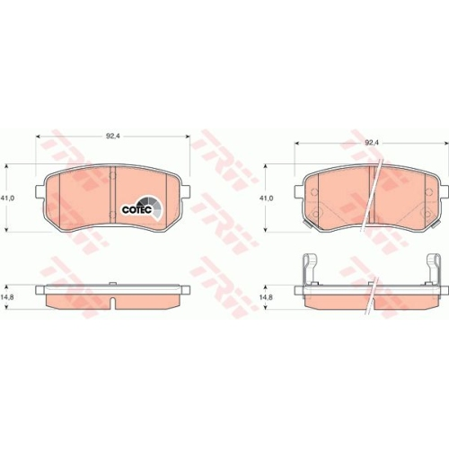 Brake Pad Set, disc brake TRW GDB3370 COTEC HYUNDAI KIA