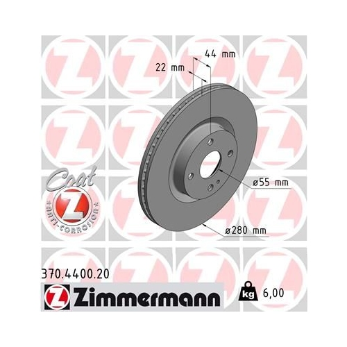 ZIMMERMANN Brake Disc 370.4400.20
