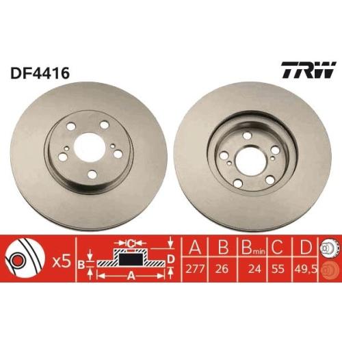 Brake Disc TRW DF4416 TOYOTA