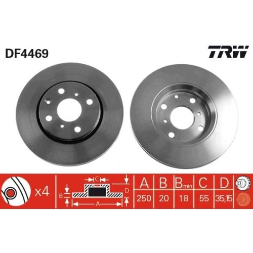 Brake Disc TRW DF4469 CITROËN PEUGEOT TOYOTA BYD