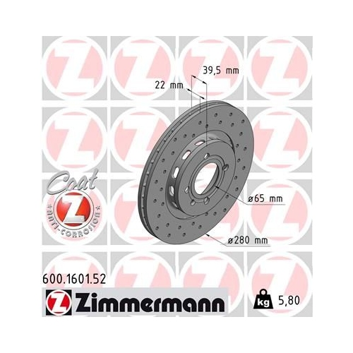 ZIMMERMANN Brake Disc 600.1601.52