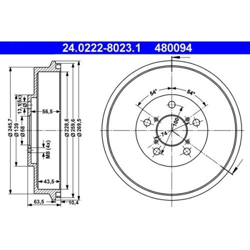 Bremstrommel ATE 24.0222-8023.1 SUBARU