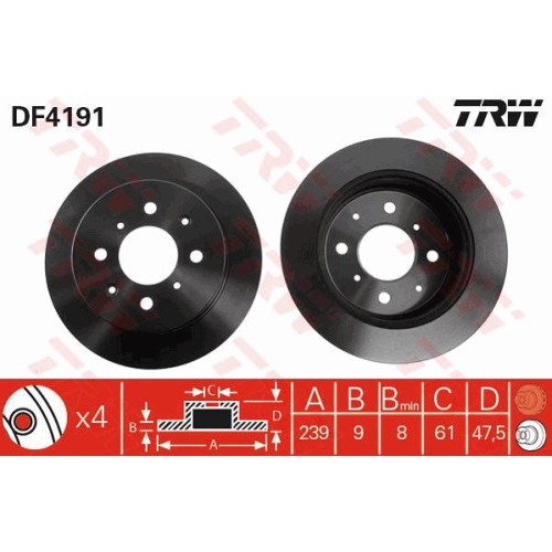 Brake Disc TRW DF4191 HONDA ACURA