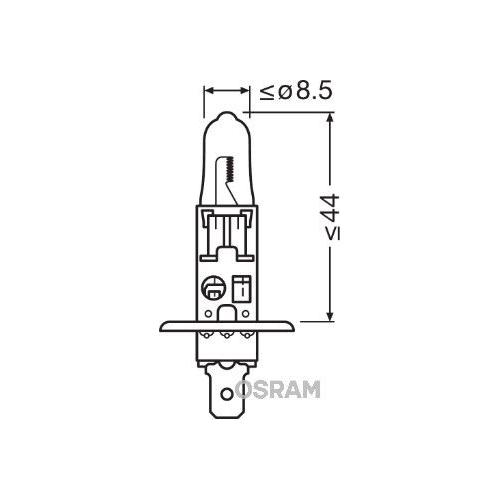 Incandescent lightbulb OSRAM H1 55W / 12V socket embodiment: P14,5s (64150)
