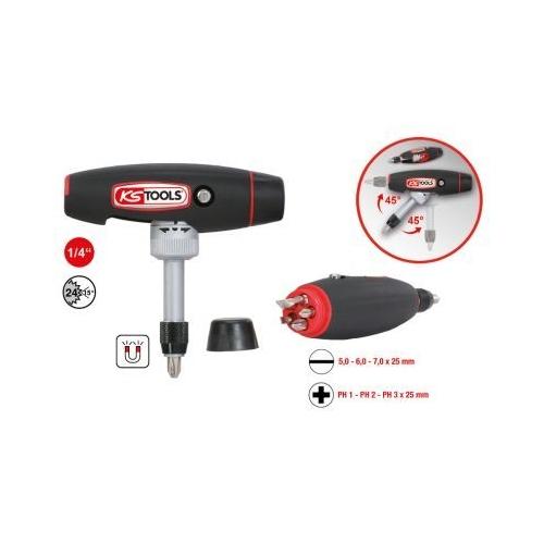 KS TOOLS T-handle ratchet bit screwdriver, 1/4 inch 911.2475