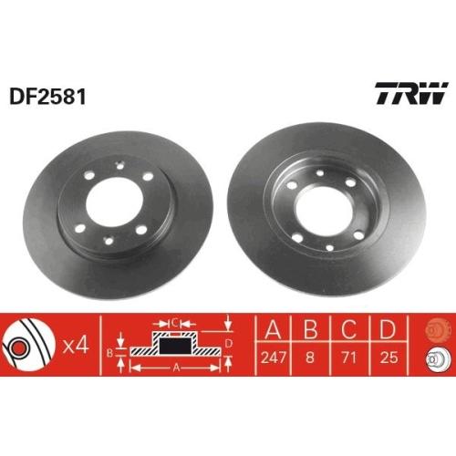 Brake Disc TRW DF2581 CITROËN PEUGEOT