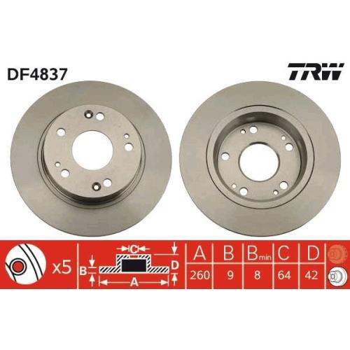 Brake Disc TRW DF4837 HONDA GREAT WALL