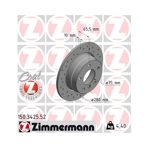Brake Disc ZIMMERMANN 150.3425.52 SPORT BRAKE DISC COAT Z BMW