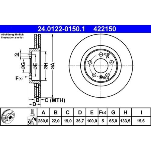 Bremsscheibe ATE 24.0122-0150.1 SEAT SKODA VAG