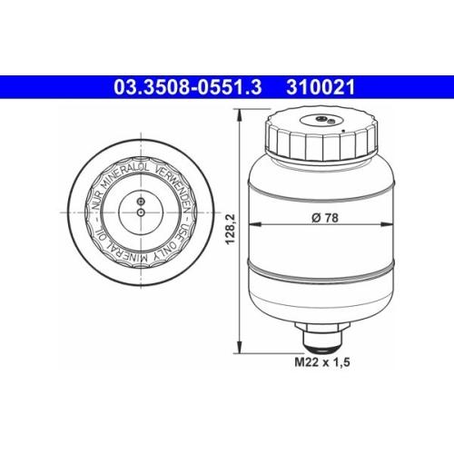 Ausgleichsbehälter, Bremsflüssigkeit ATE 03.3508-0551.3