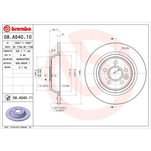 Bremsscheibe BREMBO 08.A540.11 COATED DISC LINE FORD LAND ROVER