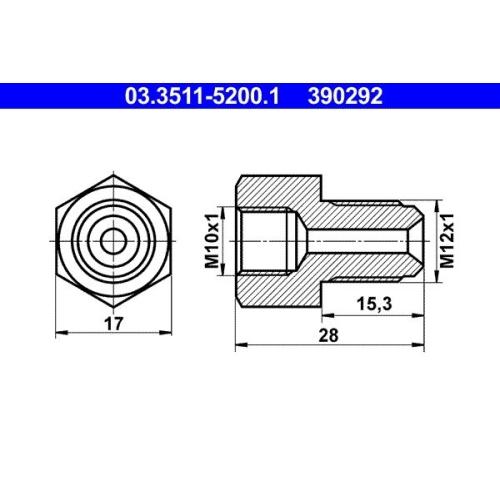Adapter, Bremsleitung ATE 03.3511-5200.1 HANOMAG MAGIRUS-DEUTZ MERCEDES-BENZ