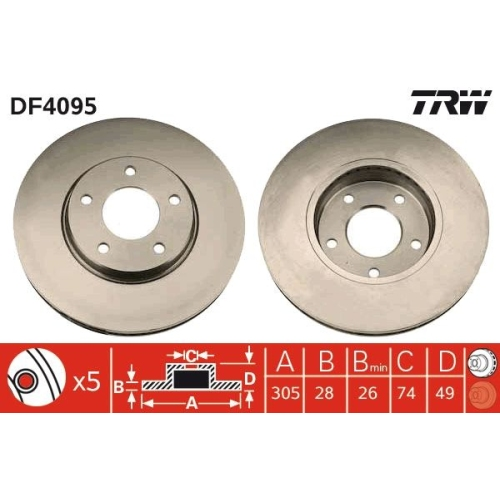 Brake Disc TRW DF4095 DAIMLER JAGUAR