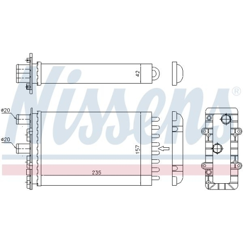 Wärmetauscher, Innenraumheizung NISSENS 73974 VW