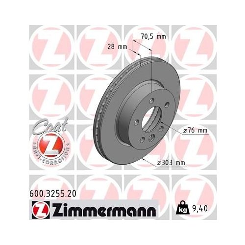 ZIMMERMANN Brake Disc 600.3255.20