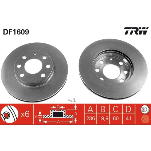 TRW Brake Disc DF1609