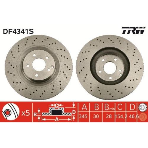 Brake Disc TRW DF4341S MERCEDES-BENZ