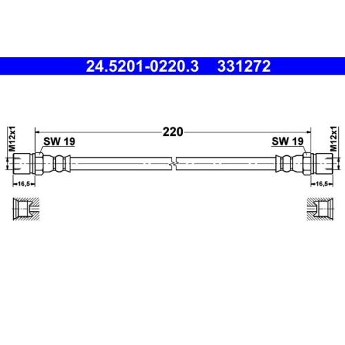 Bremsschlauch ATE 24.5201-0220.3 HANOMAG MERCEDES-BENZ