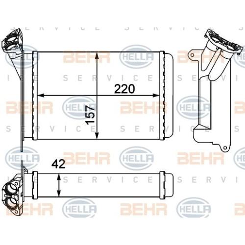 Wärmetauscher, Innenraumheizung HELLA 8FH 351 000-511 BMW