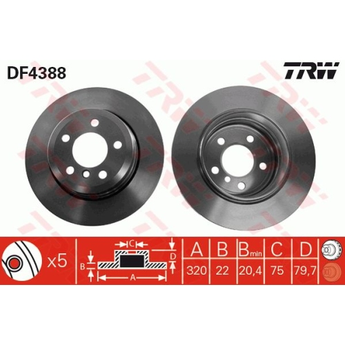 Brake Disc TRW DF4388 BMW MERCEDES-BENZ