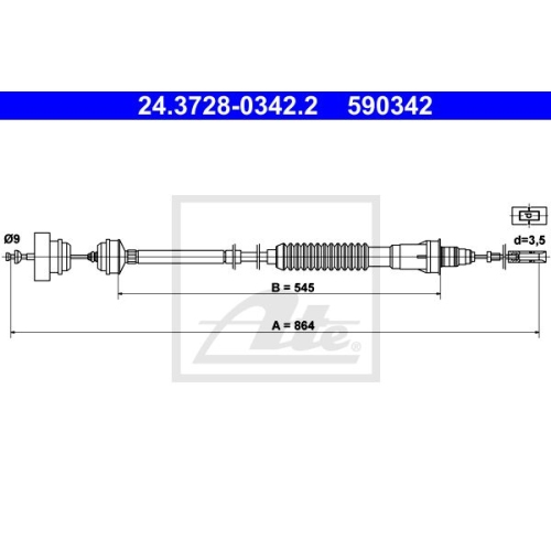 ATE Clutch Cable 24.3728-0342.2
