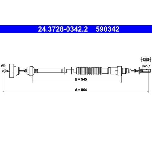 Clutch Cable ATE 24.3728-0342.2 CITROËN FIAT PEUGEOT