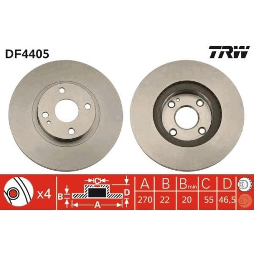 Brake Disc TRW DF4405 MAZDA