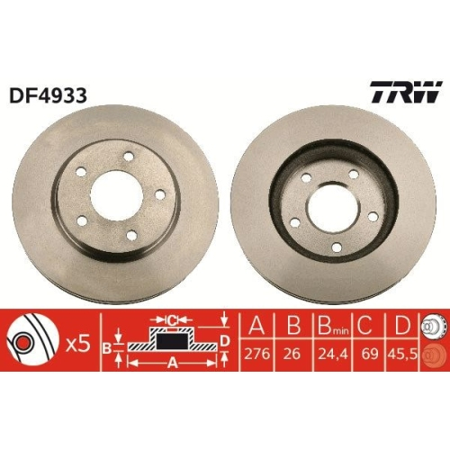 Brake Disc TRW DF4933 CHRYSLER DODGE MITSUBISHI