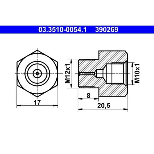 Adapter, Bremsleitung ATE 03.3510-0054.1 MERCEDES-BENZ